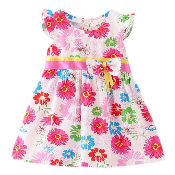 Summer Baby Kids Girl Party Tutu Lace Bow Flower Dress Short Sleeve Clothes M19