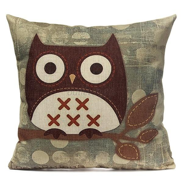 Fashion Cotton Linen Owl Pillow Case Home Room Decorative Bed Sofa Cushion Cover