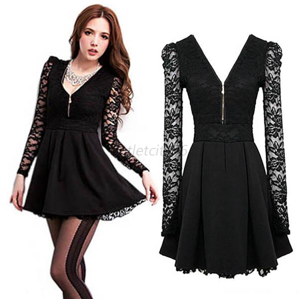 Sexy Women Lace Long Sleeve Bodycon Evening Party Cocktail Mini Dress Clubwear