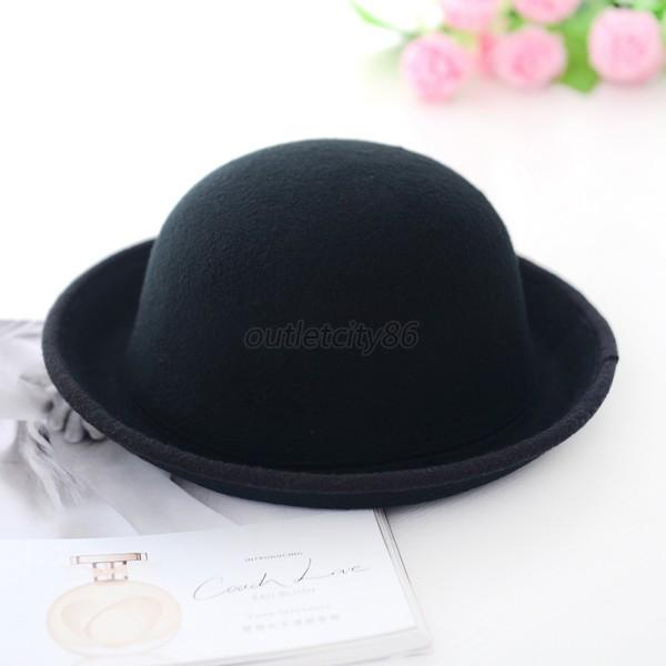 Trendy Womens Ladies Bowler Top Hat Roll Brim Derby Fedora Dome Cap 6 Colors O44