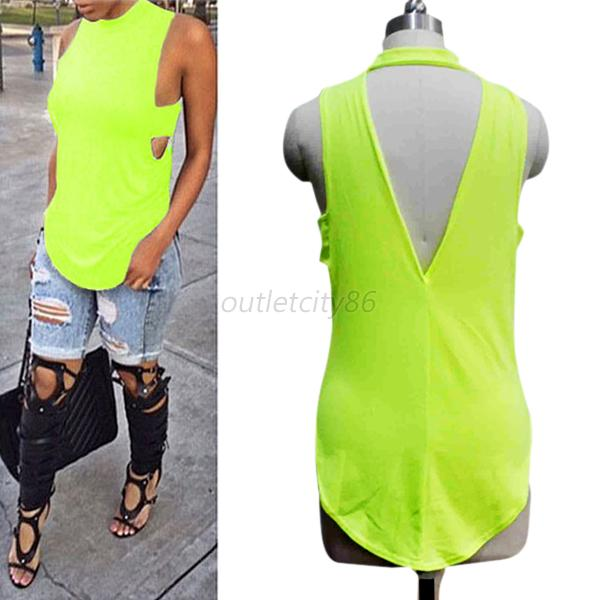 Women's O-Neck Backless Tanks Vest T-shirt Loose Girls Lady Casual Tops Blouse