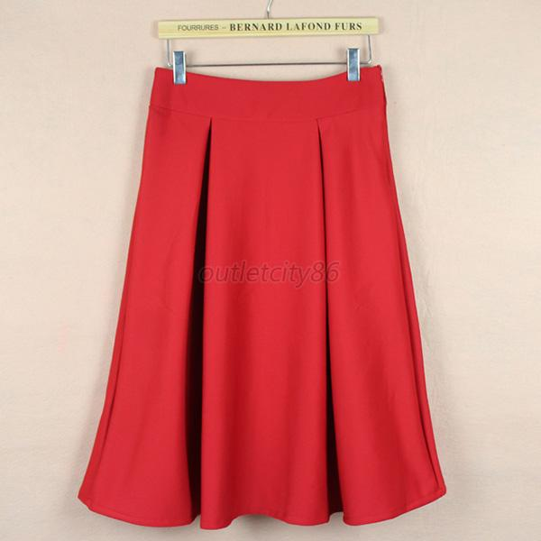 Womens Pleated Layer Satins High Waist Cotton Knee Long Pleated Skirt Dress O70