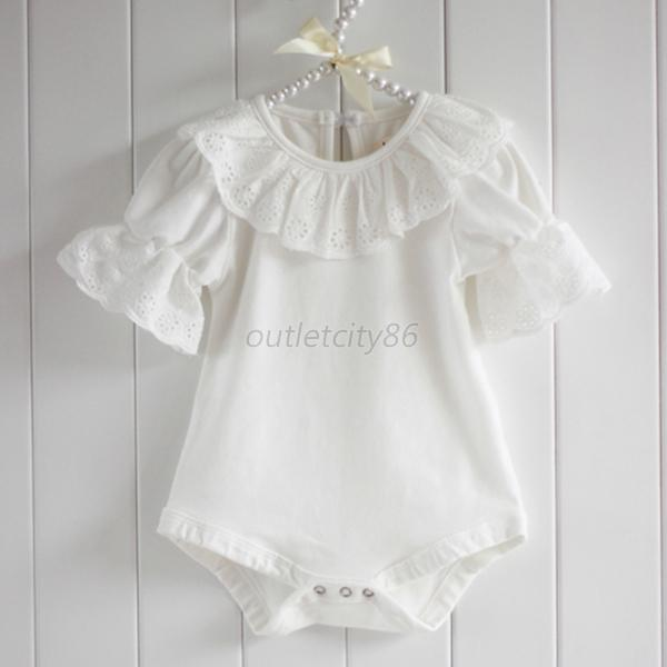 Chic Infant Kids Girl Baby Pink/White Creeper Lace Romper Short Sleeve Jumpsuit