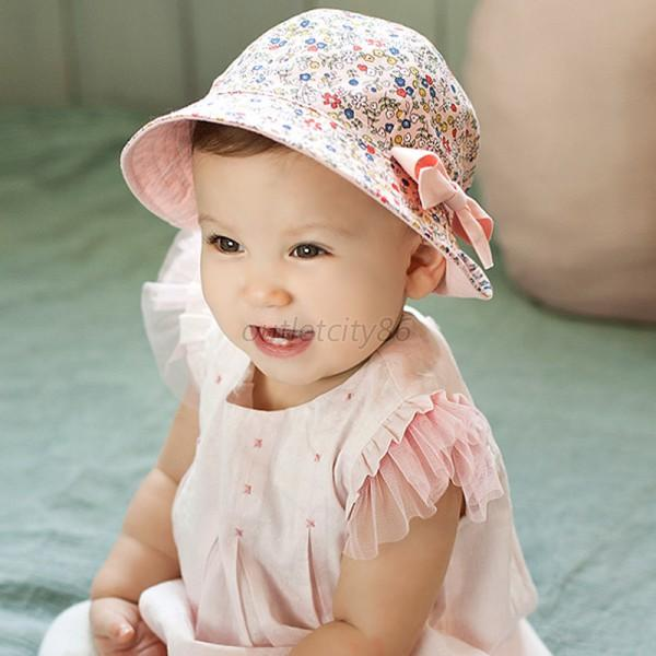 baby infant kid cool cotton floral hat bowknot