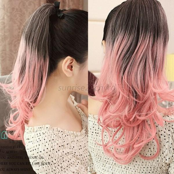 Women Girl Ombre Mix Color Long Wavy Curly Ponytail Hair Extension Hairpiece U45