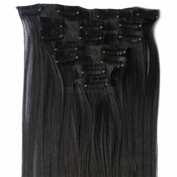 Multi-Color 7Pcs Ladies Clip In Full Head Long Hair Extension Extension Straight