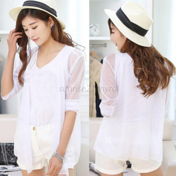 Summer Women Casual Cardigan Sun Protection Sunscreen Blouse Coat Sunblock Tops