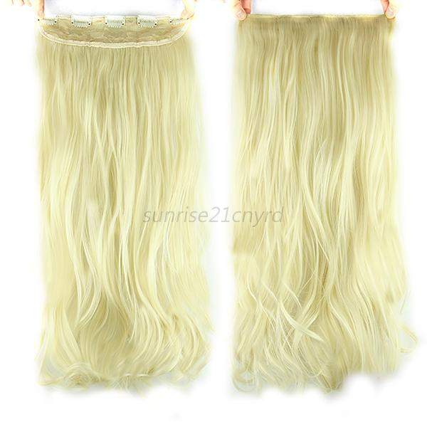 "Hot 24"" One Piece 5 Clip in Synthetic Human Hair Extensions Long Wavy Curly Hair"
