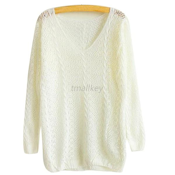 Hot Women Casual Hollow V-neck Long Sleeve Sweater Pullover Knit Tops Blouse T82