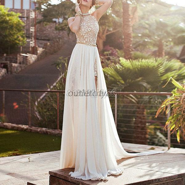 Chic Women Lace Long Chiffon Bridesmaid Wedding Formal Party Gown Prom Dress T72