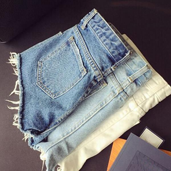 Women Pants Summer Denim Shorts Jeans Middle Waist Ripped Trousers 3 Colors T23