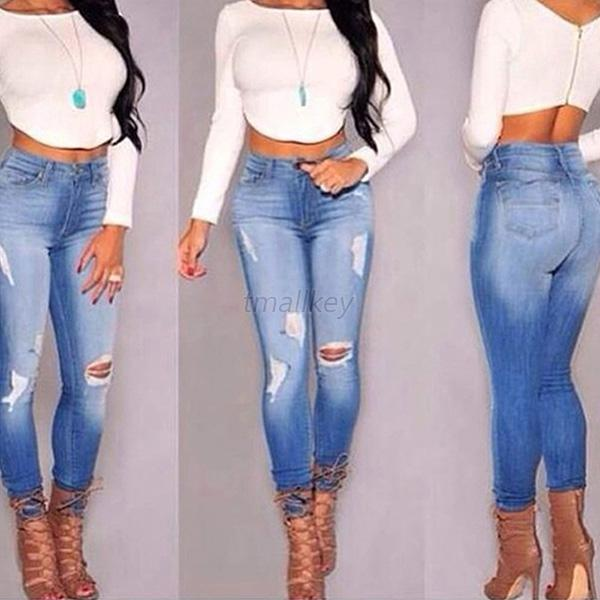 Sexy HOT Women Denim Jeans Girls Distressed Jeggings Ladies Stretch Pencil Pants