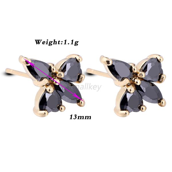 Charming Colorful Zircon 18K Gold Plated Women Fashion Stub Crystal Earrings T25