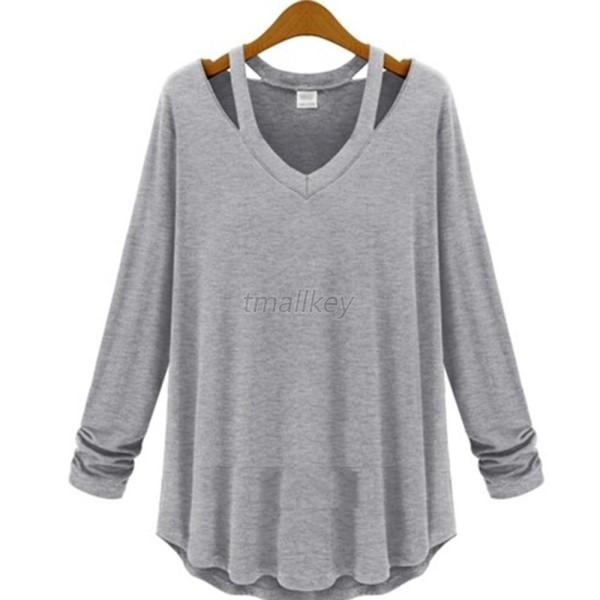 New Womens Casual Tee Top Soft LONG SLEEVE V NECK Loose Solid T-Shirt Blouse T51
