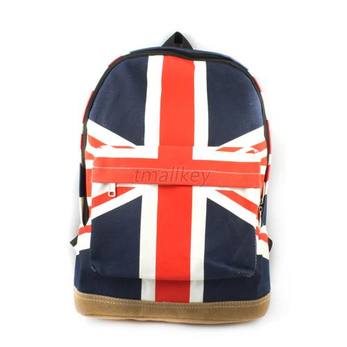 Canvas Knapsack US Flag Union Jack Backpack School Book Campus Puck Bags New T35