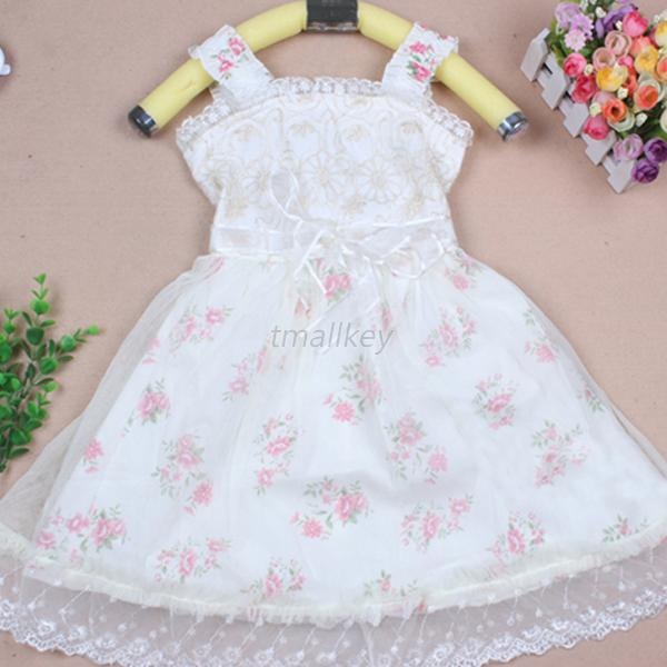 Toddlers Kids Girl Princess Braces Skirt Party Floral Lace Tulle Dress 2-7Y T45