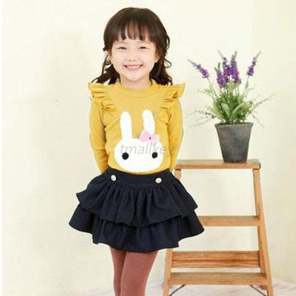 Toddler Kid Girl Ruffled Long Sleeve T-shirt Casual Shirt Blouse Top Clothes T66