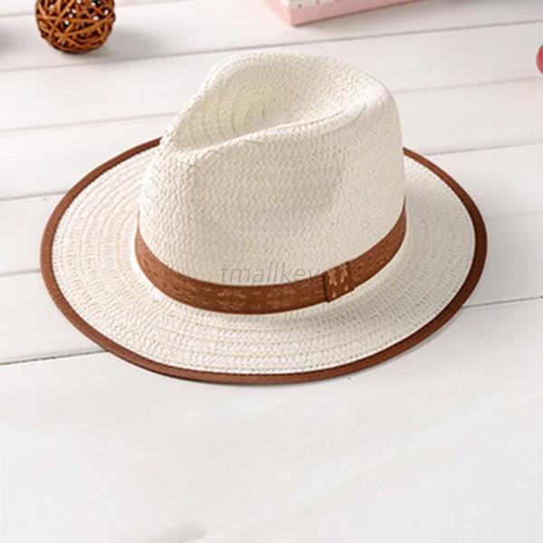 Fashion Kids Fedora Straw Brim Cap Sun Jazz Hat Hats Boys Girls Beach Cap T68
