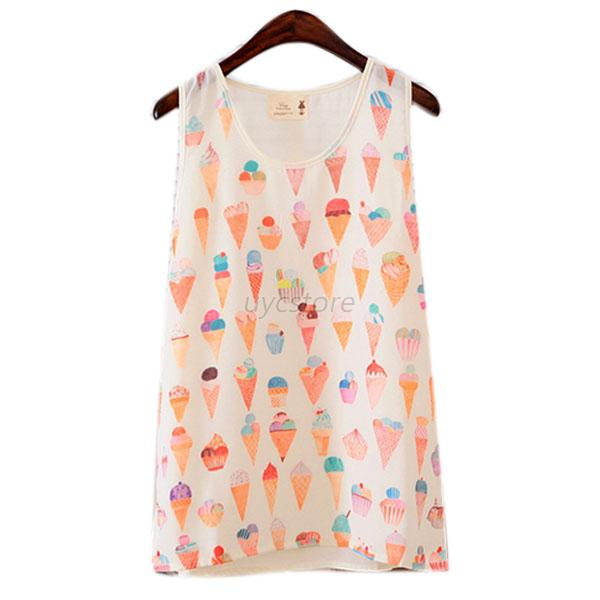 Girl Summer Sleeveless Tank Tops T-Shirt Printed Loose Casual Chiffon Vest S/M/L
