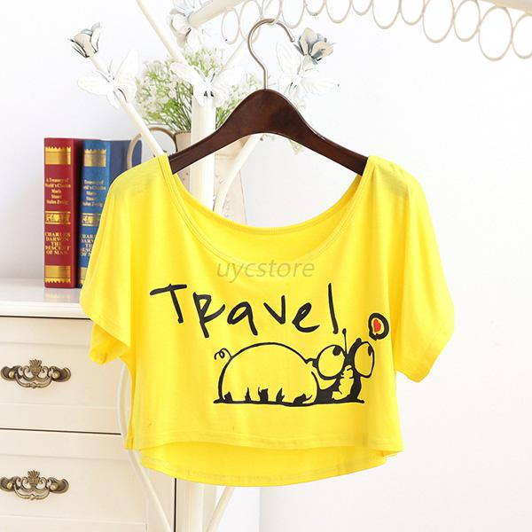 Women Snail Printed Batwing Sleeve Loose T-Shirt Cropped Tops Blouse Basic Tee