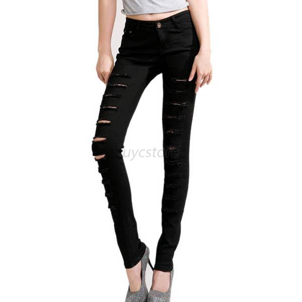 Women Punk Sexy Ripped Skinny Slim Hole Pencil Stretch Pants Leggings Trousers