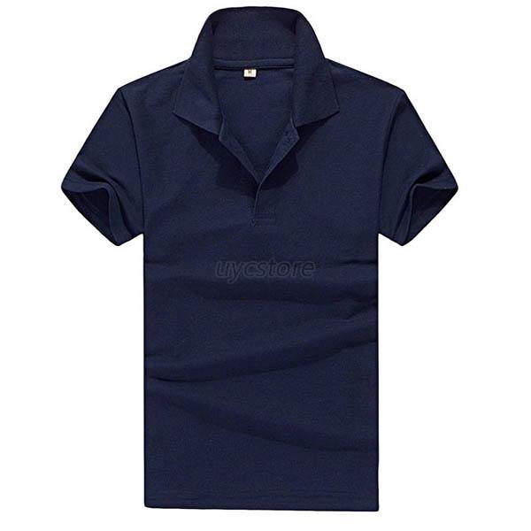 Bf16 Colors Men Lapel Polo Shirts Short Sleeve Solid Tee T