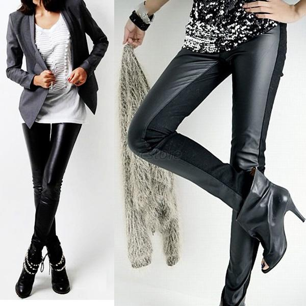 NEW Women Ladies Stitching Tights High Waist Faux Leather Skinny Pencil Pants