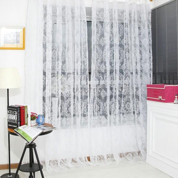 Pastoral Style Flower Tulle Balcony Curtain Panel Sheer Scarfs Window Screen U13