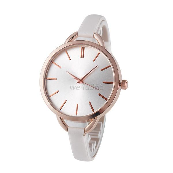 Elegant Women Lady Gold/Rose Gold  Watchcase Faux Leather Trap Dress Watches