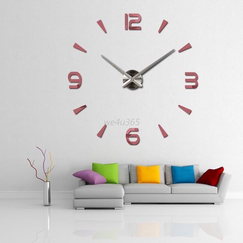 Diy Wall Decor For Office : Modern diy large wall clock d mirror surface sticker home