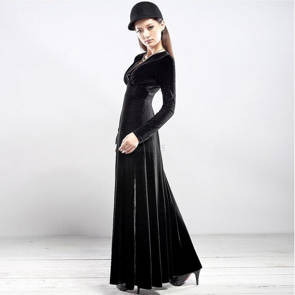 Elegant Sexy Ladies Deep V Slim Maxi Dress Women Long Sleeve Evening Party Dress
