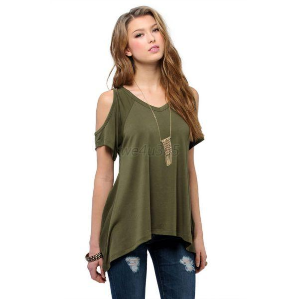 Summer Women's Loose Off Shoulder T-shirt Blouse Tops Irregular Party Shirts W88