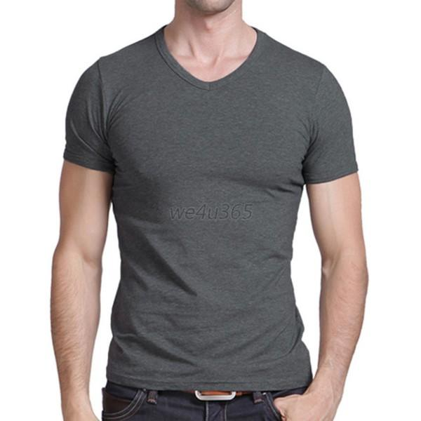 men casual slim fit v neck t shirt short sleeve basic muscle tee tops. Black Bedroom Furniture Sets. Home Design Ideas