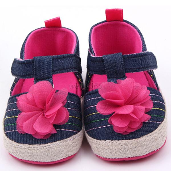 Newborn Girls Jean Strap Baby Shoes Infant Child Breathable Comfy Crib Shoes W15