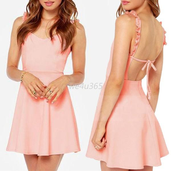 Sexy Women's Summer Bodycon Sleeveless Backless Mini Dress Party Cocktail Casual