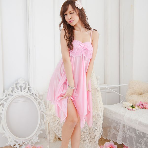 Womens Imitation Silk Irregular Night Dress Sleepwear Suspender Pajamas Robes