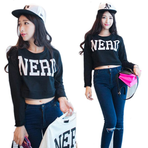 Girls Cute Stylish Letter NERD Printed Hip-Hop Cropped Tops Sweater Long Sleeve
