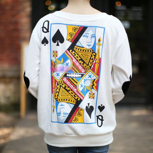 Women Harajuku Poker Sweatshirt Long Sleeve Blouse Tops T Shirt Pullover Casual