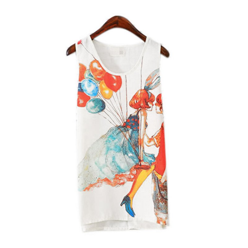 Women Chiffon Floral Print Vest T-Shirt Sleeveless Tank Top Blouse Summer Casual