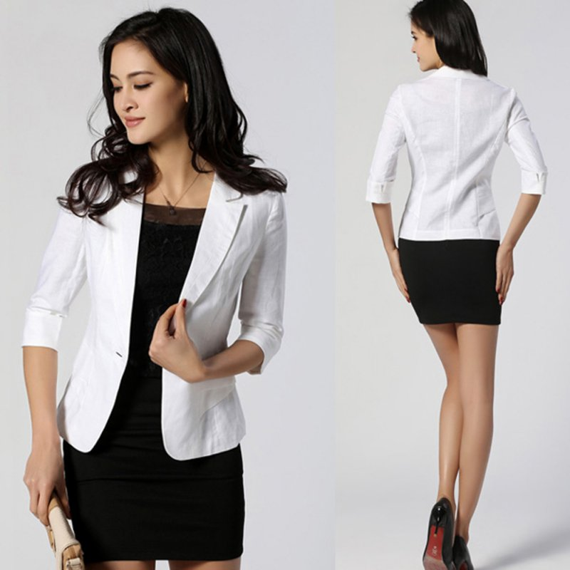 Women 3/4Sleeve Blazer Jacket Coat Business Office Outwear One Button Suit M90
