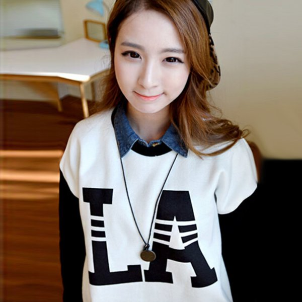 Women Girl Long Sleeve Pullover Jumper Casual Letter Printed Blouse Sweater Tops