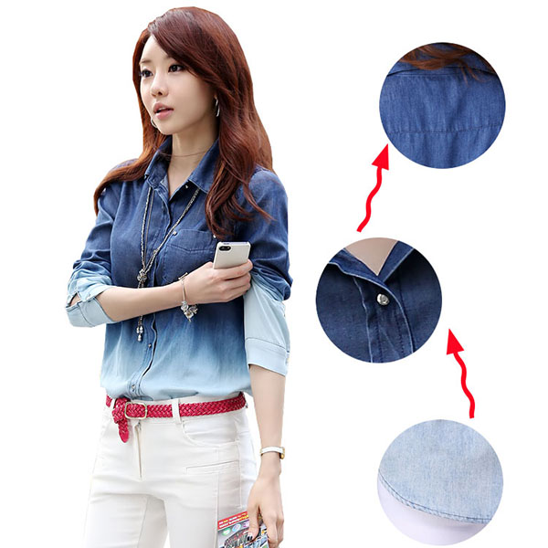Vintage Women Lapel Gradient Color Button Down Jeans T-Shirt Loose Denim Blouse