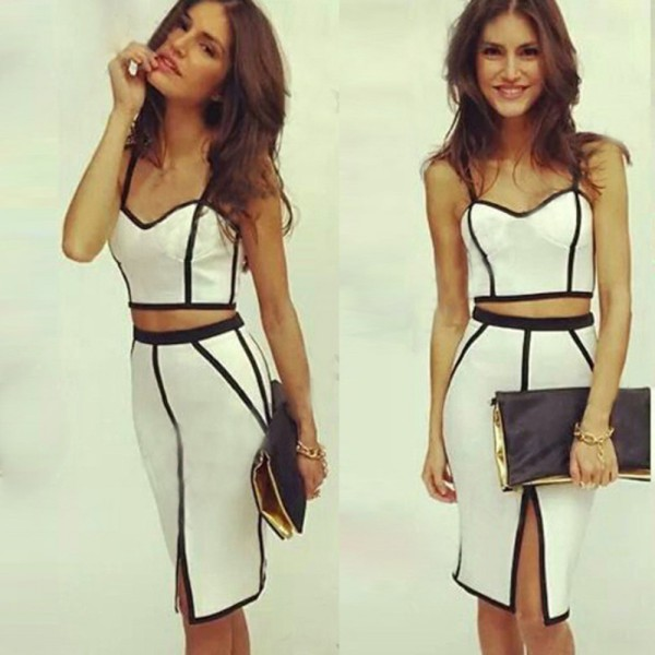 Womens Bodycon Slimming Illusion Bandage Two Piece Crop Top + Skirt Dress Set