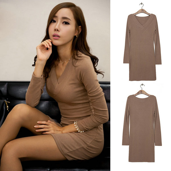 Womens Long Sleeve V-neck Mini Dress Evening Party Bodycon Sweater Dress S-XXL