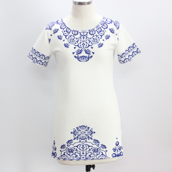 Sexy Womens Cocktail Party Vintage Blue and White Porcelain Printing Dress S-XL